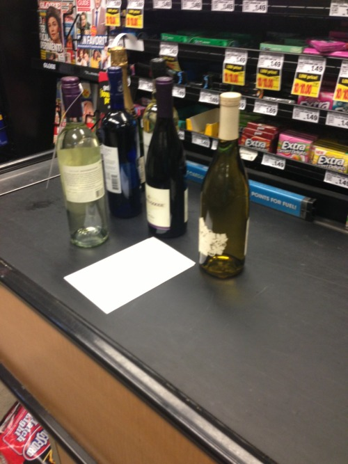 "1 ""Congratulations on Your Engagement"" card, 1 bottle of fancy champagne, 5 bottles of wine (to get the Buy 6, Get 30% Off discount.  And also to drown my sorrows.)"