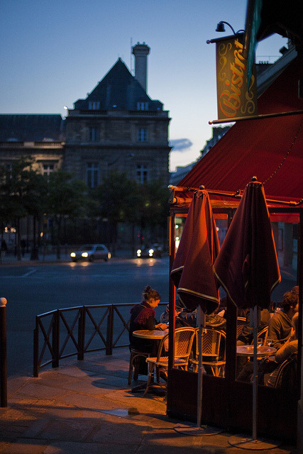 elorablue:  Paris Cafe at Dusk by Yale Gurney Photography on Flickr.