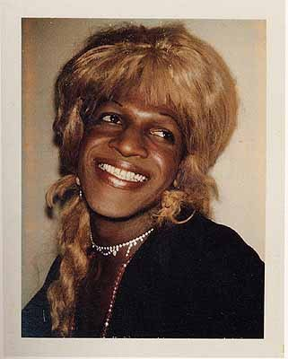 "gentlemanintheradiator:  Marsha P. Johnson (Polaroid) by Andy Warhol, for the series ""Ladies and Gentlemen"""