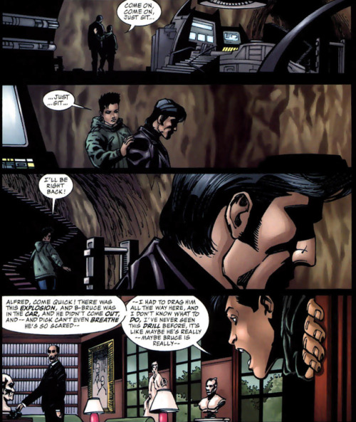 "waterbearcosmonaut:  ""… Dick can't even breathe."" Ngh. - Batman: Gotham Knights #10"