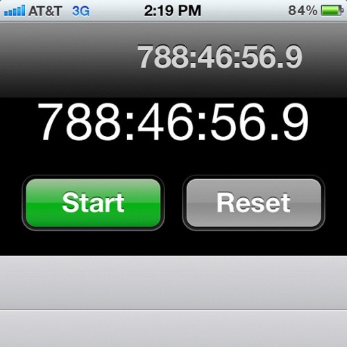 Apparently, I turned my stopwatch on a long time ago and never shut it off. Just playing around with my phone and there it was… #highlife