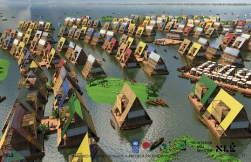 good:  A Floating School for the Flooded Nigerian Coastline- Adele Peters posted in Architecture, Design and Resilience  Makoko, Nigeria, floods so frequently that people live in homes on stilts, and canoes are more common than cars or bikes. Climate change increases the risk of flooding even more. A new school design for the area takes the water into account: it floats. It's intended to be built from locally-sourced wood kept afloat by used plastic drums.
