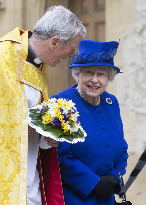 I'm fairly certain the Queen is wearing Queen Victoria's Wedding Brooch here!