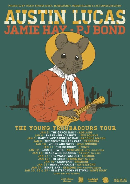 Hey Australians: our old, old friend PJ Bond is going on tour with Jamie Hay and Austin Lucas. Shows kick off tonight in Adelaide. Go check them out if they're in your hood.