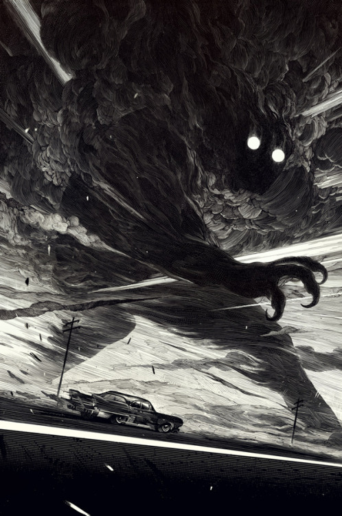 "fantasydrifter:  artmonia:  The End of the Road | Nico Delort. Ink on claybord, 11*15"".  Bomb"