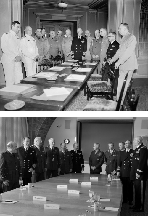 defencehq:  (Image shows Combined Chiefs of Staff Committee in 1940s, and 2013) This week, Britain's most senior military chiefs met with their US counterparts as a group, bringing them together as a Combined Chiefs of Staff Committee for the first time since 1948.  This time, the Chiefs were not discussing current or prospective operations but instead met to discuss the strategic challenges the UK and US militaries may face in the future.  The meeting in Washington reinforced the close alliance between the two countries' Armed Forces, after a decade in which UK and US forces have been routinely involved in combat operations together.  The end of combat operations in Afghanistan next year seems likely to represent an inflection point.  This meeting therefore provided a timely opportunity for the Service Chiefs to consider the future challenges both militaries can expect to face during a period of uncertainty in the international strategic environment and continuing pressure on the resources that will be available for defence.  The Chiefs reviewed the circumstances in which UK and US forces seem likely to operate together in future, and the need to continue to develop interoperability between our forces.