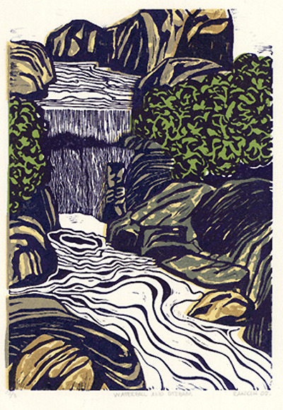plaidbird:  Waterfall & Stream linocut http://www.etsy.com/shop/magprint