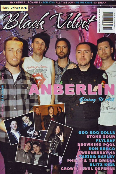 Issue 76 of Black Velvet Zine is out now and includes:  Anberlin's Stephen Christian tells us how his lyrics are everything he is, how he'd like to convince others of hope, how his heart melted for a man named Bob and how you shouldn't seek approval too much - although approval from The Smashing Pumpkins meant a lot.  http://www.blackvelvetmagazine.com/