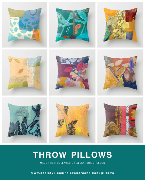 introducing PILLOWS! made from collages by Alexandra Sheldon