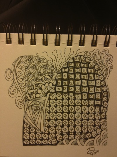 Real paper Zentangle - traditional style.