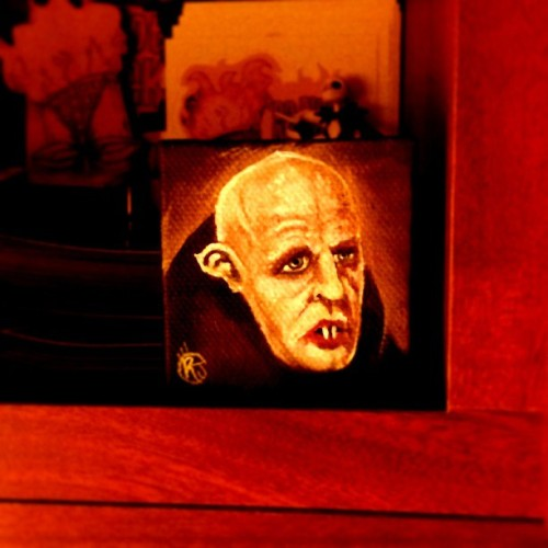 My 2x2 inch #nosferatu #painting hanging out in the #studio #art #horror #lowbrow #kustom #monster #vampire #acrylics