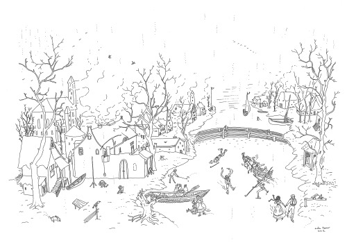 "Ada Tuncer 2012 I tried to draw something like Hendrick Avercamp's  ""Winter Landscape with Skaters"""