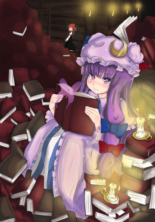 Patchouli and Koakuma, in their messy library.  By b.d