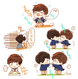 Cute fanart of 2 cuties in RM 138 ;D hitoritabi:  tempest-dance:  credit: @딱풀 at LJS Gallery runningman summarized.  lol his spirit escaping. (btw I am so glad you start posting these from the gallery direct. welcome~ :D)