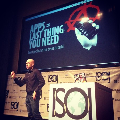 @designhawg getting his preach on. Preach on, sir. #isoj http://bit.ly/17a7P93