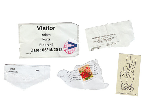 week in scraps: donation envelope visitors pass springtime stamp i live here peace