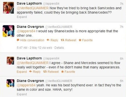 fuckyeahgleefanracism:  They're the same in color and size haha. Samcedes doesn't make sense because they're different races haha. Mercedes is not worthy of Sam because she's Black haha.