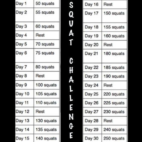domesticg33k:  30 day squat challenge! I'm going to do this dang it!  Day 1 DONE!  I'm in .. starting tonight