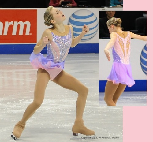 Ashley Cain skating to Clair de Lune for her short program at the 2010 Novice US National Championships. Photos by Robert Walker and trilby23.