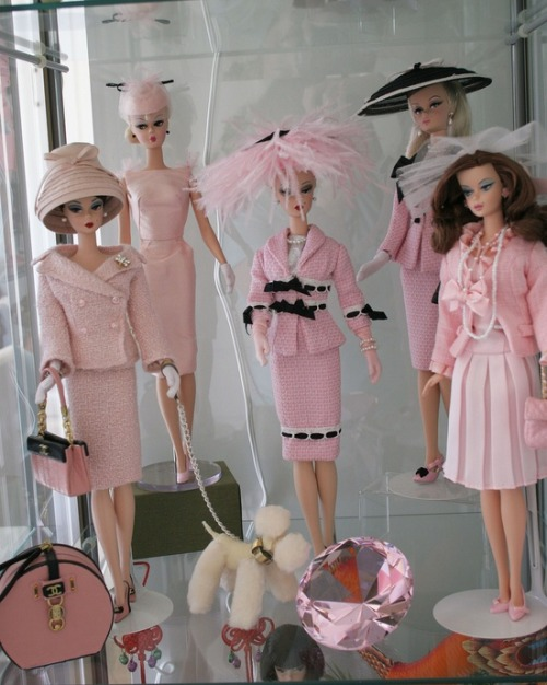 barbie-doll-ethel:  I love these dolls Vintage Pink Barbie Doll Collection. (L-R) Claudia, her dog Love, Felicity, Georgia, Holly, and Arial.