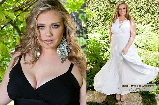 Enchanting plus-size model Kelsey Olson, size 16/18 (40d-39-46), in a sensual new campaign for Sealed with a Kiss. Click here to see more images and video of the shoot.