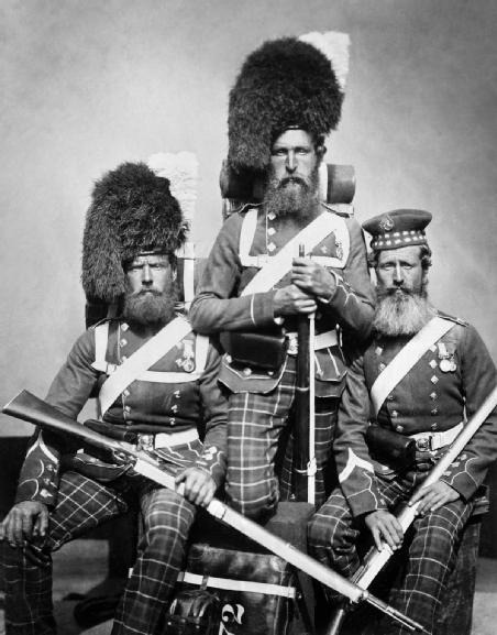 Crimean War Men of 72 Highlanders who served in the Crimea: William Noble, Alexander Davison and John Harper.