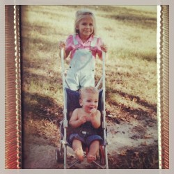 #tbt #bigsister #littlebrother #umbrellastroller #overalls #80s #awesome @taylorsenter @katebsenter  (at Cashiers, North Carolina)