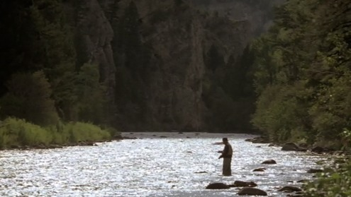 """Like many fly fishermen in western Montana where the summer days are almost Arctic in length, I often do not start fishing until the cool of the evening. Then in the Arctic half-light of the canyon, all existence fades to a being with my soul and memories and the sounds of the Big Blackfoot River and a four-count rhythm and the hope that a fish will rise.  Eventually, all things merge into one, and a river runs through it. The river was cut by the world's great flood and runs over rocks from the basement of time. On some of those rocks are timeless raindrops. Under the rocks are the words, and some of the words are theirs.  I am haunted by waters.""  - Norman Maclean"