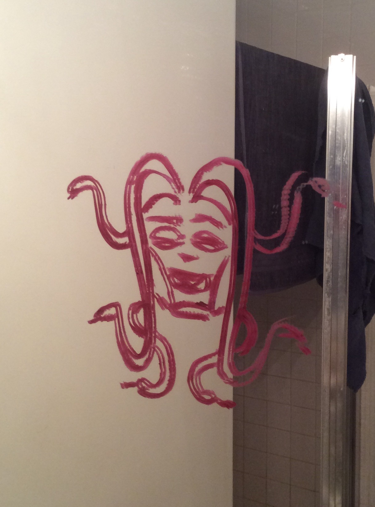 medusa in bathroom mirror