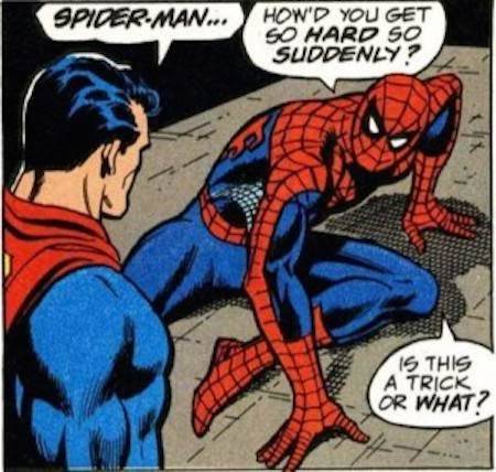 georgetakei:  Oh Myyy. I must have missed the inyourendos in these when I was younger.  Source: Unintentionally Gay Comic Book Scenes -http://ohmyyy.gt/dIAyCA