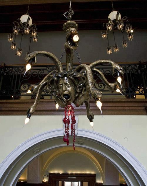 Chandelier depicting the Gorgon, Medusa