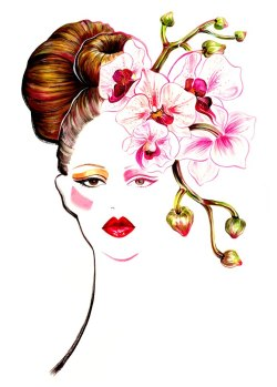 This illustration is inspired by Issa Spring Summer RTW collection.……………………………………………………………………I have always been intrigued by flower meanings and symbolism. After I finished the painting, I was wondering about the meaning of orchid flowers. After a brief research, I found out orchid flower represents innocence, love, luxury, delicate beauty and strength…Ah, so beautiful! If you have been following my work, you know I can't get tired from painting stylish girls, enjoy drawing flowers, LOVE painting them together even more. Every flower is very unique in its own way, just like people. After I painted some floral portraits, I always associate the girls/women I meet with different kinds of flowers. Just think how intriguing and elegant would a girl be if she embodies the lovely qualities of orchid flowers…