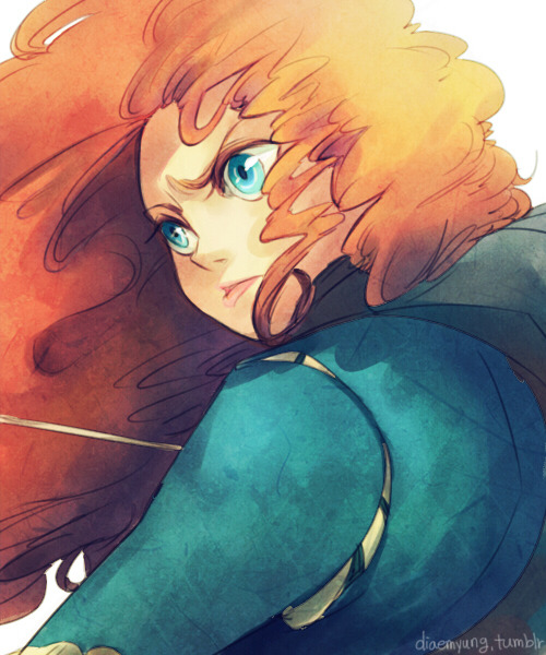 diaemyung:  Merida - Brave (2012) I finally watched 'Brave' last week. I like characters in the movie. (Especially Merida's younger brothers).  Thank to you guys to care about me. I'm sincerely appreciative of it. I survived from that bloody food poison. The cause of the sickness was fish n chips (with green colour) Even it's winter now, be careful when you guys eat sea food. Always always. I almost died in washroom.