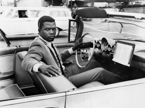 "Happy 86th Birthday to absolutely magisterial Sidney Poitier! In this 1965 photo, Mr. Poitier is on the set of ""The Slender Thread,"" a 1966 film he did with Anne Bancroft (Sydney Pollack's directorial debut - and Quincy Jones did the music!)  Photo: Cat's Collection/Corbis."