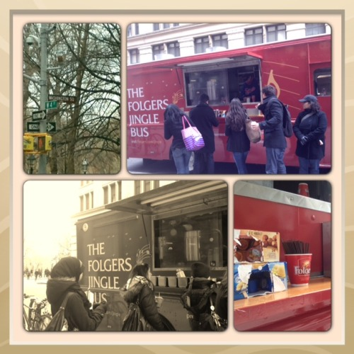 TGIFolgers®    Find us parked next on Broadway in SoHo (3-5 PM) and get a free cup of coffee, free samples, and info on how to enter the Folgers® Jingle Contest (there's a $25,000 cash prize).