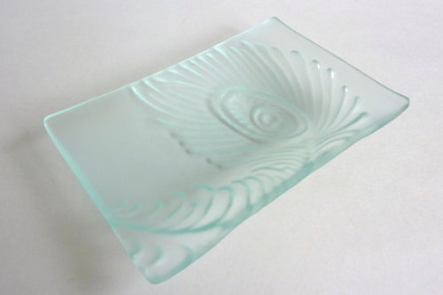 Peacock Feather Imprinted Dish in Pale Blue Tint