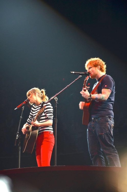 jencita:  @taylorswift13 and @edsheeran during Everything Has Changed #redtouromaha by @fearlessally13