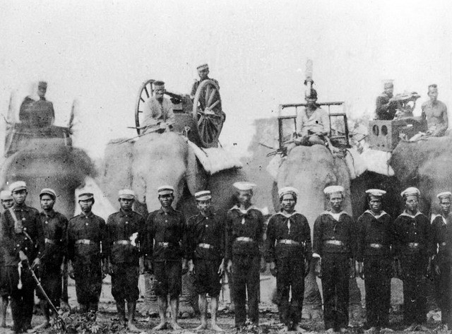 seahorsesandpearls:  soldiers, elephants and guns c. 1900