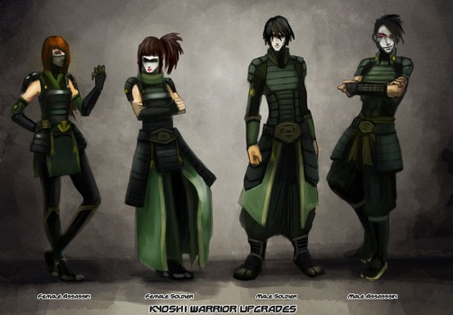 What if the Kyoshi warriors expanded their roles in the 70 years since TLA?   This is what artist Mellownoiz came up with.  Read more about his concept here: http://mellownoiz.deviantart.com/art/Kyoshi-Warrior-Upgrades-317480688