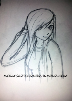 mollysartcorner:  Doodle before bed. I'm pretty sure her arm is too long?