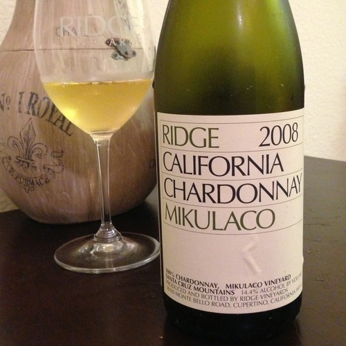Ridge | 2008 Mikulaco Chardonnay This bottle has been mind-boggling, and we don't mean that in a most positive way. It's been open and sitting in our fridge for the past 72 hours now. Upon uncorking it was tight, a bit unsettled, even sour. There was no fruit, and just not the chardonnay we recalled when we originally had it at Ridge. Fast forward to tonight, strange notes hit us immediately - oak and butter. How odd, we usually pride ourselves on skipping past those bottles but it was there; oaky and buttery, but the tropical fruits were also back and something tangy further back. Maybe we'll hope for tomorrow.