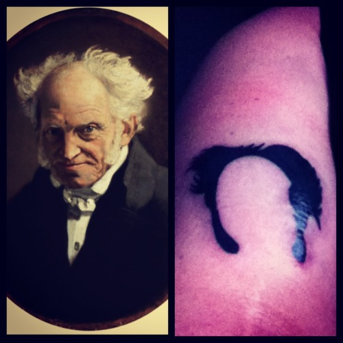 I got my homeboy Arthur Schopenhauer's crazy hair tattooed on me tonight.