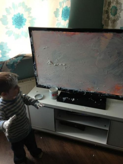 "collegehumor:  Kid Ruins Beautiful Flat Screen T.V. I like to call this piece….""Birth Control"""
