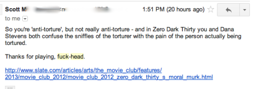 Getting some nice response to my first Movie Club post in Slate. (I could have responded to the first part, but what do you say to the second?)