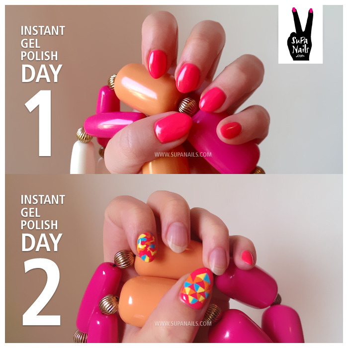 Instant Gel Polish Test The plan was simple: To test this instant gel polish, see how long it would last, write a review and show how to add some nail art to it. Unfortunately the instant gel polish didn't even survive the second day, as you can see in the picture. It was pretty easy to peel the gel coat off the second day. Which is pretty disappointing for a gel polish. But I definitely wanna try some more soak-off gels and hope to be able to report some better results soon.