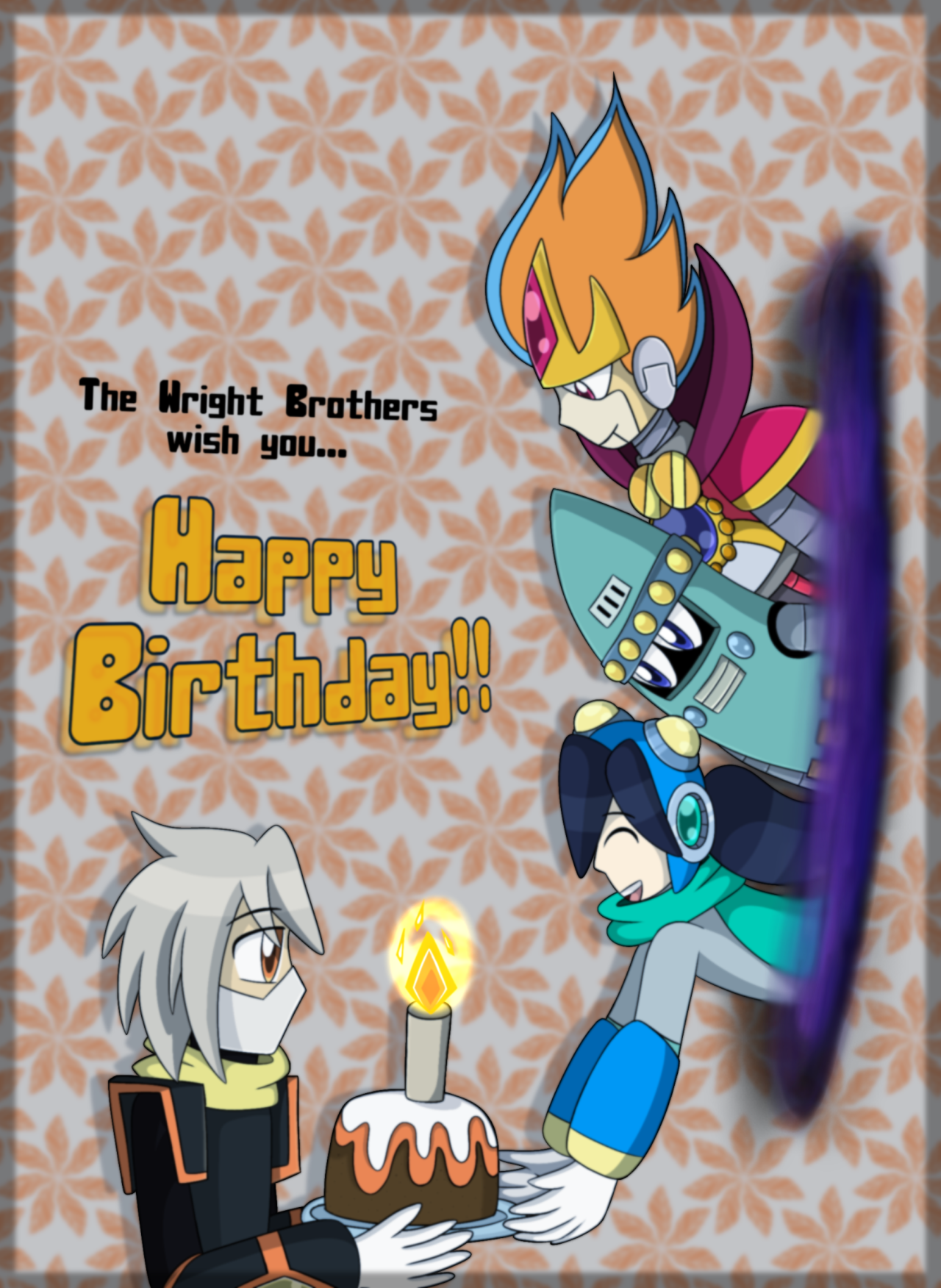 "Happy Birthday from another Dimension! ""The Wright Brothers wishes you a Happy Birthday, Aiden!"" For @flowersofstarlight​ ***It's curious that I've met you thanks to @purplesweetwarmheart, my friend of DeviantArt since 2019. I know…  The Wright Numbers are an Special Line who had to go through space and time to visit Aiden to wish him a ""Happy Birthday!"".  For an strange reason, they discovered the day of Aiden's birthday and they cooked a delicious chocolate cake with orange cream XD  *** *A mysterious purple hole appears without reason* The Wright Brothers: Happy Birthday, Aiden!! Windy: *holds a chocolate cake with orange cream* My brothers and I made this chocolate cake for you! RocketMan: *smiles* I hope you're having a good time! Ignis Frost: *laughs* This is a gift for our part! Thank you for let us met your friends!  ***Aiden belongs to @flowersofstarlight***PD: I WAS WAITING 1 WEEK TO FINALLY SUBMIT THIS THING! XD I HAD BUSY DAYS THAT I'M AFRAID TO DON'T FINISH IT AT TIME :'v #megaman#megaman oc#fan characters #robot masters oc #aiden#flowersofstarlight #megaman: heroes of robots  #the gear heroes #ignis frost#windy#rocket man#another dimension#dimension#alternative universe#rockman#robot masters#birthday#birthday boy"