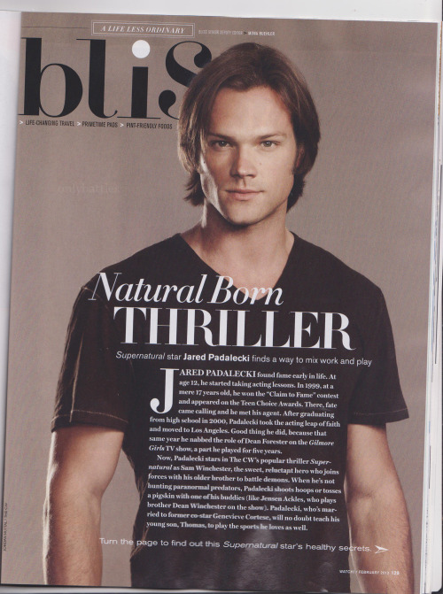 onlybattles:  Jared Padalecki - Watch! Magazine February 2013 (Larger images so you can read the text - here - and - here -)