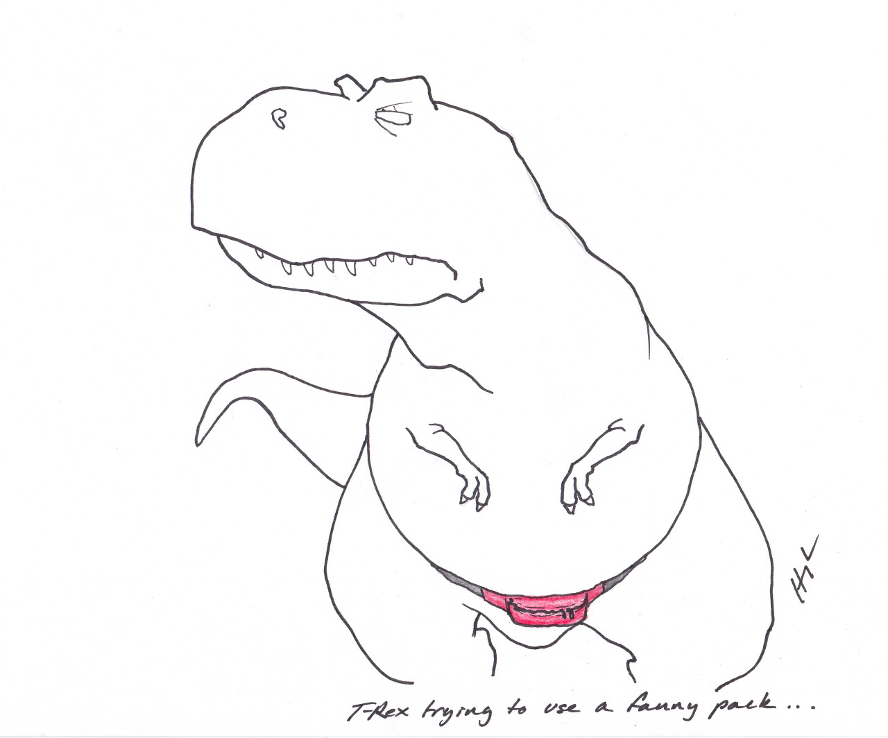 trextrying:  T-Rex Trying to use a fanny pack… #TRexTrying #fannypackproblems