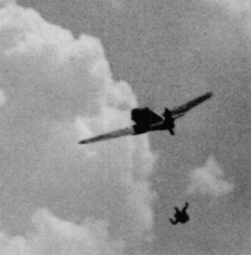 """Second World War gun camera footage: ""the pilot of this Bf-109 has bailed out even though his plane seems relatively intact.."" (via)"