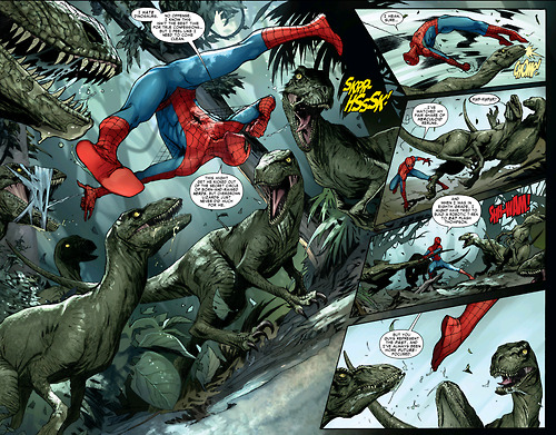 Spider-Man knows how to kick the asses of some raptor-wannabes He doesn't know that they've got something up their sleeeves, though…